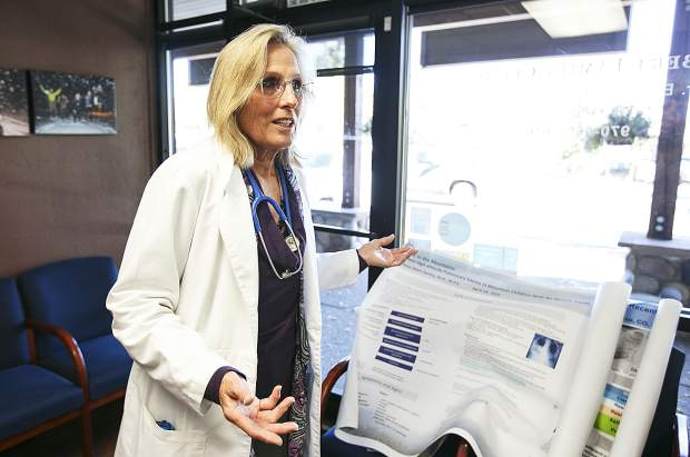 Dr. Christine Ebert-Santos, MD, discusses her ognoing work on high-altitude pulmonary edema inside the Ebert Family Clinic in Frisco on Tuesday, Oct. 10.