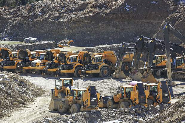Heavy equipment at the site of a mining operation for the reality TV show Gold Rush near Fairplay. Residents say the show's presence has become a nuisance.