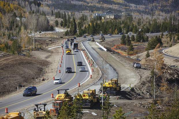 Heavy-duty construction vehicles remain along what will be the northbound lanes of the State Highway 9 Iron Springs project in Frisco on Wednesday, Oct. 4. Crews are racing the weather — and the clock — to complete the job by the end of the calendar year in time for peak ski season.