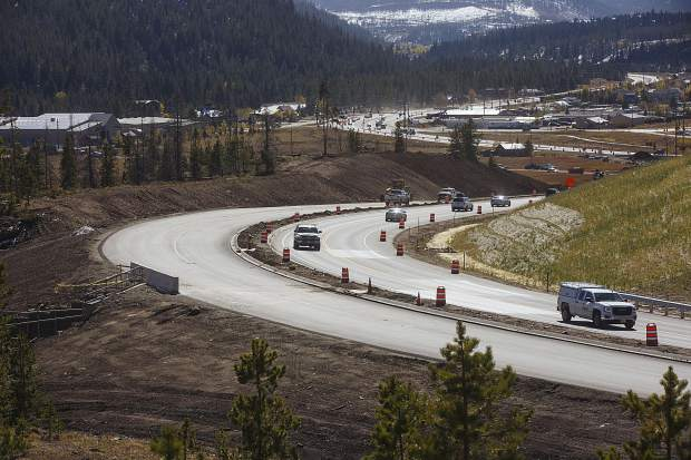 Vehicle traffic and construction crews on State Highway 9 north of Summit High School in Frisco on Wednesday, Oct. 4.