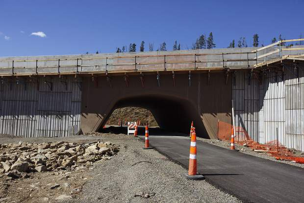 The recpath beneath the rerouted State Highway 9 Iron Springs project in Frisco, on Wednesday, Oct. 4. A small section of the new alignment of the recpath also still needs to be paved.