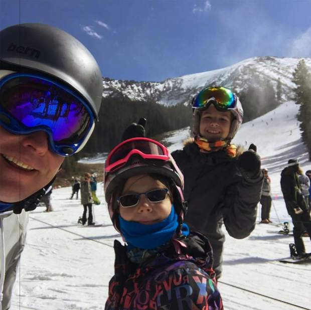 Enjoying the sun and short lines on opening weekend at Arapahoe Basin.