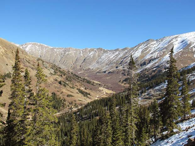 Nothing but blue skies on an autumn hike in the Cinnamon Gulch and Peru Creek area near Keystone Resort.