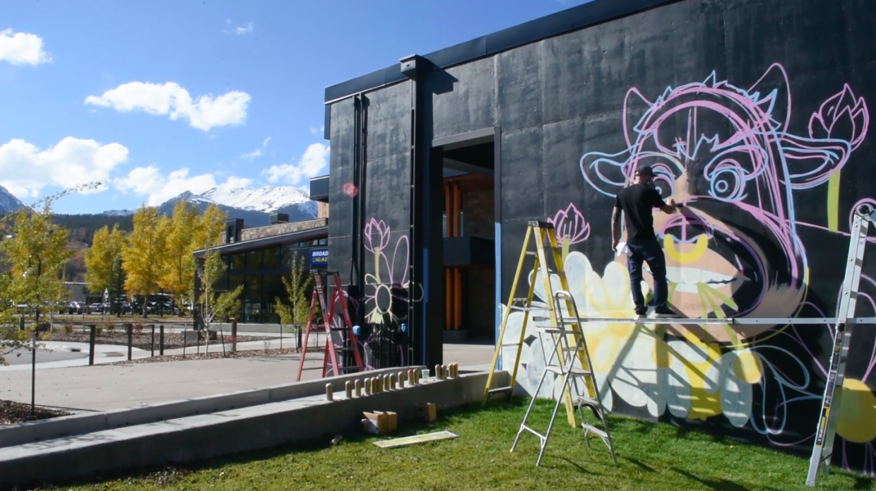 Video: Denver artist creates mural for outdoor stage at Silverthorne Performing Arts Center