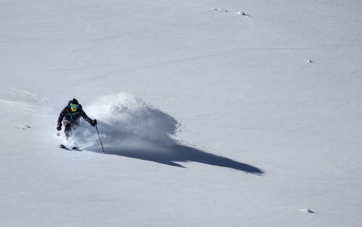 Aspen resident Andrew Benaquista skis in a open field of fresh snow at Loveland Pass Tuesday, Oct. 3.