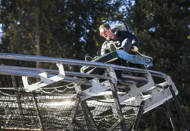 A thrill seeker rides on the Rocky Mountain Coaster at Copper Mountain Resort Thursday, Nov. 30, next to the base of American Flyer chairlift.