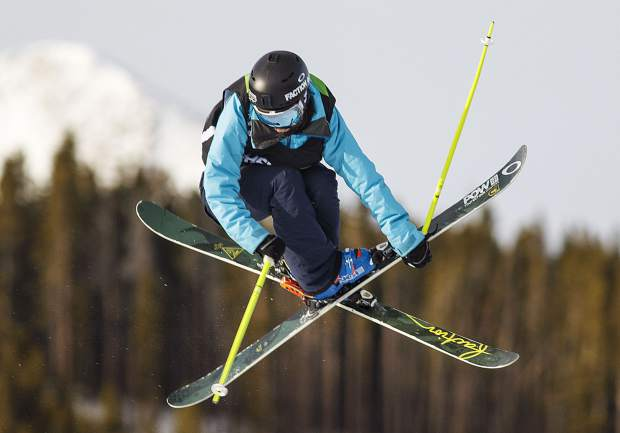 Sarah Hoefflin of Switzerland competes in the slopestyle finals during the Dew Tour event Saturday, Dec. 16, at Breckenridge Ski Resort. Hoefflin took home third with a high score of 416.