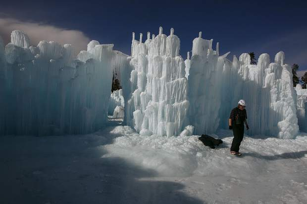 Ice Castles under construction Wednesday, Dec. 20, in Dillon Town Park.
