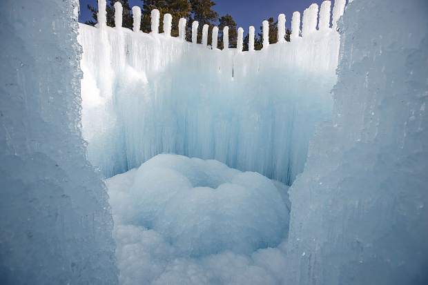 Ice Castles grown with sprinkler equipment and freezing temperatures Wednesday, Dec. 20, in Dillon Town Park.