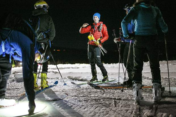 Summit Skimo Club and U.S. Ski Mountaineering team member Teague Holmes leads an advanced group during a clinic session at the Frisco Adventure Park Thursday, Nov. 30, in Frisco.