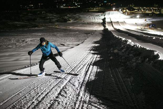 Kati Campbell shuffles her way uphill during a Summit Skimo Clinic at the Frisco Adventure Park Thursday, Nov. 30, in Frisco.