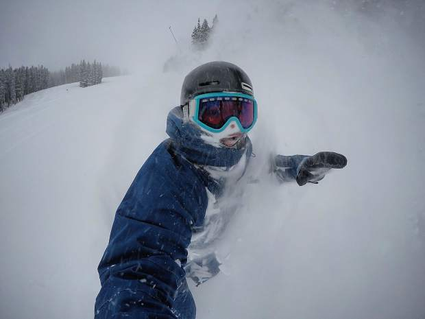 Snowboarder Cody Mendoza makes fresh turns in powder after six inches of snow fell at Breckenridge Ski Resort Wednesday night into Thursday morning.