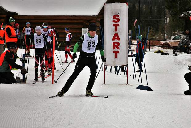 A skier propels past the starting line at this past weekend's United States Ski Association's Rocky Mountain Region qualifier, an event that was hosted last minute at the town of Frisco's nordic center after being relocated from the Gold Run Nordic Center in Breckenridge.