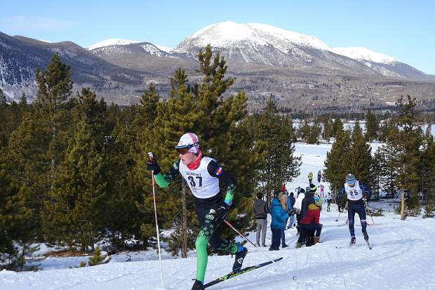 With Buffalo Mountain pictured in the background, nordic skiers push uphill at this past weekend's United States Ski Association's Rocky Mountain Region qualifier, an event that was hosted last minute at the town of Frisco's nordic center after being relocated from the Gold Run Nordic Center in Breckenridge.