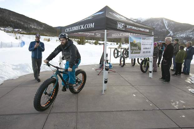 RJ McHenry tests a fat tire bike during a demo day made possible by Breck Bike Guide at the Frisco Adventure Park Tuesday, Jan. 30, in Frisco. The demo day and wrap party in Frisco capped a weekend of events at the annual winter Outdoor Retailer show, which was hosted late last week at the Denver Convention Center.