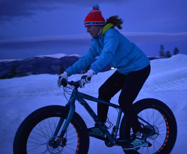 Ruth Meade tests out a fat bike from Breck Bike Guides during a Tuesday demo at the Frisco Adventure Park.