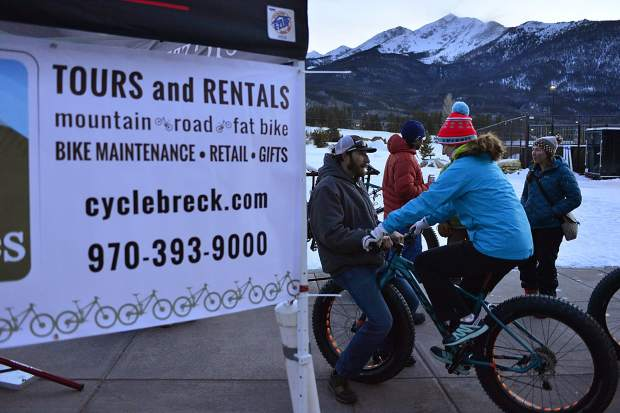 Representatives of Breck Bike Guides help people get comfortable on fat bikes while offering free demos Tuesday at the Frisco Adventure Park.