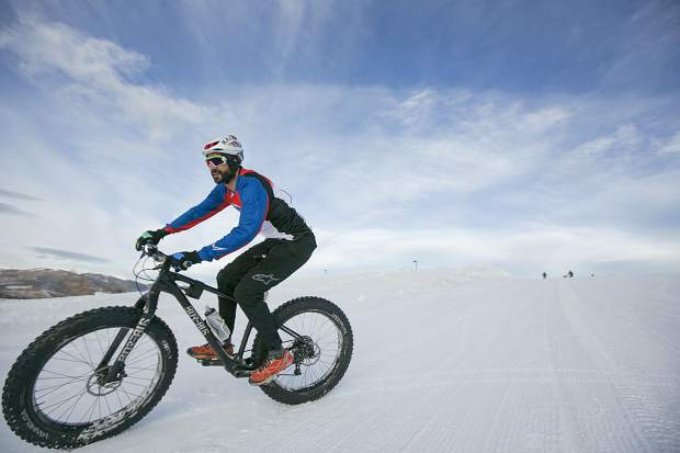 Mountain bike racing Hall of Famer Nat Ross rides a fat tire bike during a demo day made possible by Breck Bike Guide at the Frisco Adventure Park Tuesday, Jan. 30, in Frisco. The demo day and wrap party in Frisco capped a weekend of events at the annual winter Outdoor Retailer show, which was hosted late last week at the Denver Convention Center.