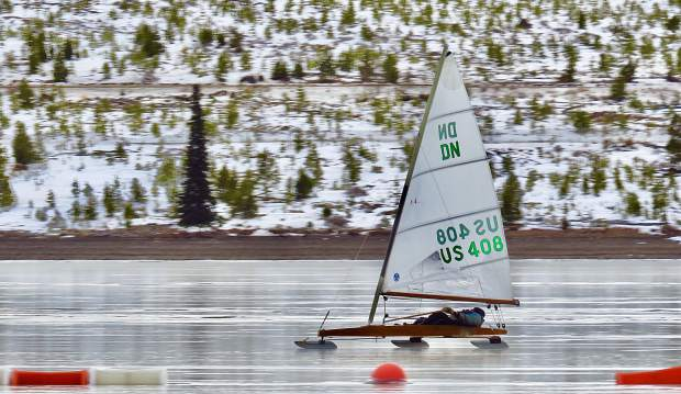 Last week, Summit local Rich Cotter enjoyed some early season ice sailing on Lake Dillon. The ice season is short sandwiched between when the lake freezes and when the snowpack on the ice becomes too deep.