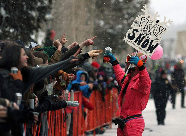 People pray for snow during the annual Ullr Fest parade in Breckenridge. This year's parade will begin at 4:30 p.m. Thursday on Main Street, immediately after Breckenridge tries to break the unofficial world record for the longest shot ski.