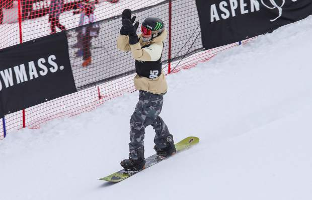 Darcy Sharpe celebrates after one of his three runs during the Men's Snowboard Slopestyle Finals on Saturday, Jan. 27, in Aspen. Sharpe took second.
