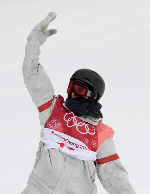 Kyle Mack, of the United States, reacts during the men's Big Air snowboard competition at the 2018 Winter Olympics in Pyeongchang, South Korea, Saturday, Feb. 24, 2018.