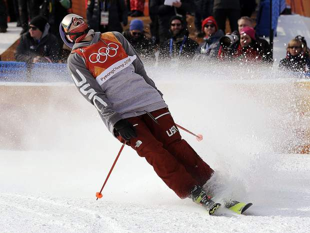 Silver medal winner NickGoepper of the United States reacts to his run during the men's slopestyle final at Phoenix Snow Park at the 2018 Winter Olympics in Pyeongchang, South Korea on Sunday, Feb. 18.