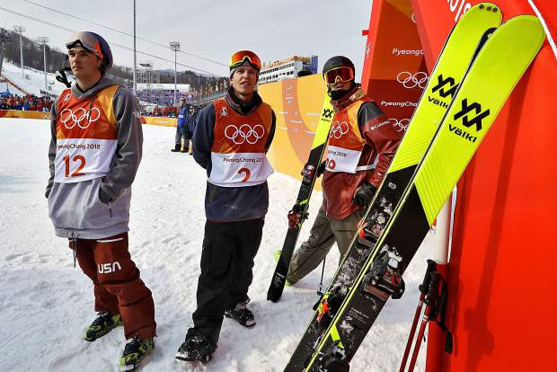 From left; silver medal winner NickGoepper, of the United States, gold medal winner OysteinBraaten, of Norway, front, and bronze medal winner AlexBeaulieu-Marchand, of Canada, watch the final run during the men's slopestyle final at Phoenix Snow Park at the 2018 Winter Olympics in Pyeongchang, South Korea on Sunday, Feb. 18.