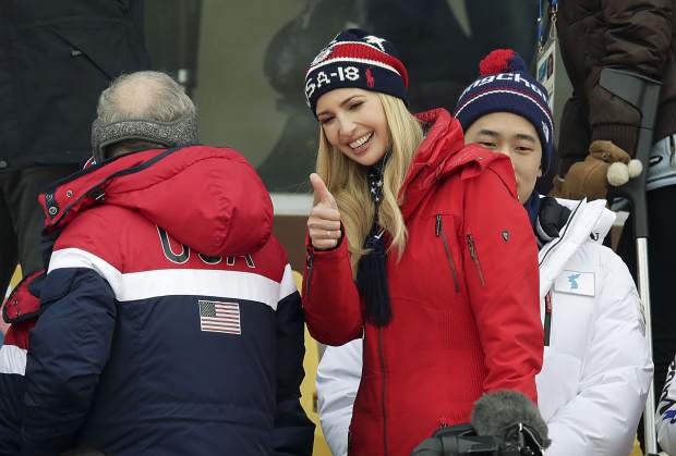 Ivanka Trump gestures during the men's Big Air snowboard competition at the 2018 Winter Olympics in Pyeongchang, South Korea on Saturday, Feb. 24, 2018.