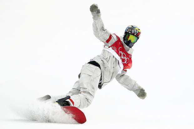 Chris Corning, of the United States, competes during the men's Big Air snowboard competition at the 2018 Winter Olympics in Pyeongchang, South Korea on Saturday, Feb. 24, 2018.
