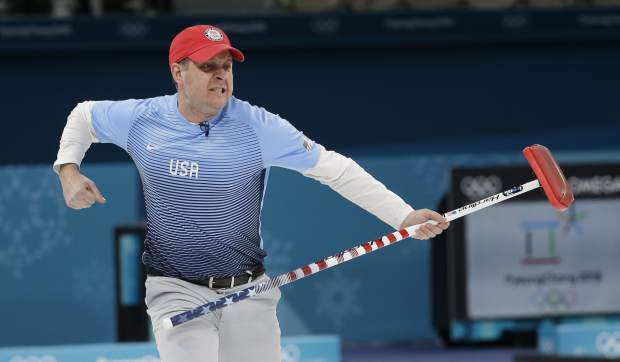 U.S. skip John Shuster reacts during the men's final curling match against Sweden at the Winter Olympics in Gangneung, South Korea, on Saturday.