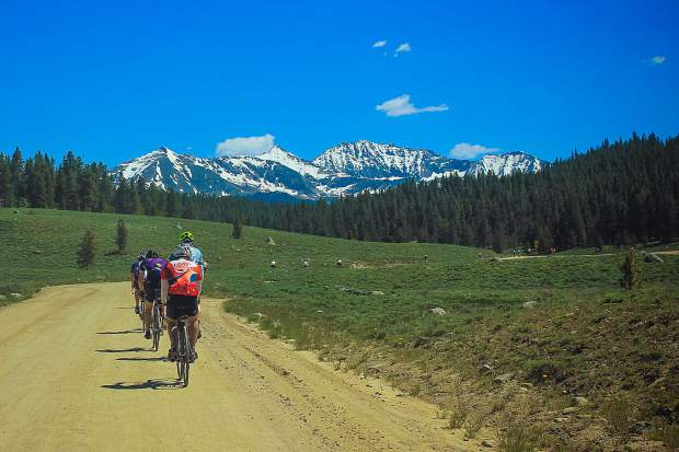 Cyclists take part in the annual Ride The Rockies race.