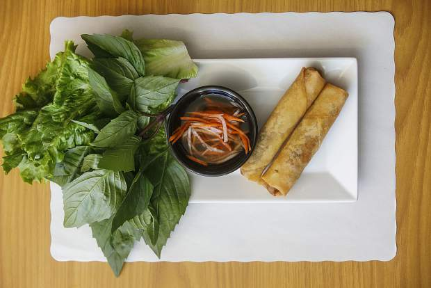 Peak of Asia's Egg Roll with basil vietnamese dish at the new restaurant in Breckenridge.
