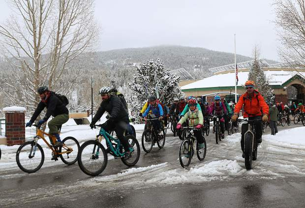 Participants set out on the bike portion of the 27th annual Imperial Challenge