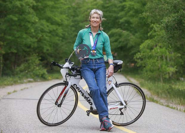 Dillon resident Nancy Peters, 60, who won her age group at the Boulder Ironman this past weekend.