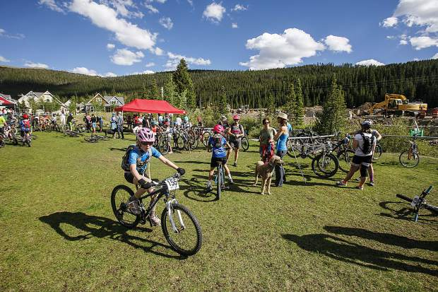 Participants pedal around during Wednesday evening's second event of this summer's Summit Mountain Challenge mountain bike race series, the Gold Run Rush, which took place in and around the Wellington neighborhood of Breckenridge.