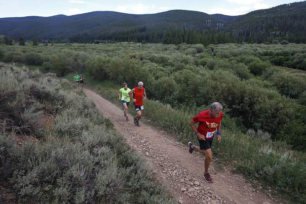 Runners participate in the Summit Trail Running Series event at Horseshoe Gulch Wednesday, July 25, near Breckenridge.