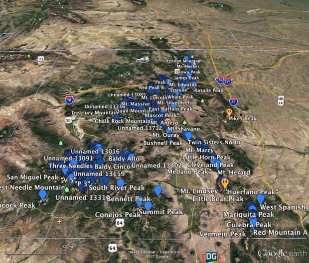 This Google Earth image shows all 105 mountains that Boulder's Justin Simoni, 37, scaled during his 60-day summer 2017 self-supported hike-and-bike journey up and down Colorado's 105 highest points.