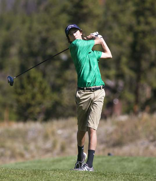 Summit High School golfer Riley Cibula stares down his shot as he holds his swing's follow-through during the Tigers' home tournament at the Keystone Ranch Golf Course on Sept. 13, near Dillon.