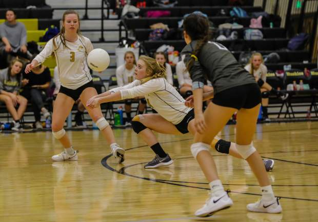 Battle Mountain's Lillian Benway passes against the Summit Tigers girls volleyball team on Thursday in Edwards. The Huskies took down the Tigers in three sets.