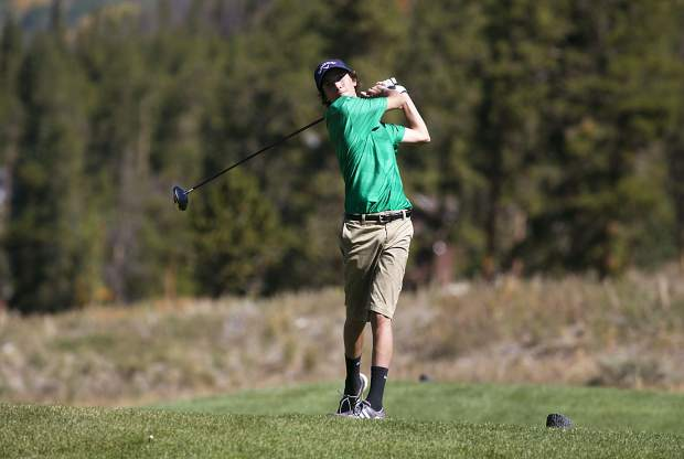 A member of the Summit High School golf team stares down a shot at the team's home tournament, the Keystone Ranch Invitational, at the Keystone Ranch Golf Course on Thursday.