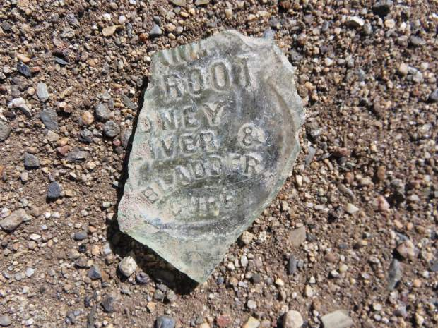 Medicine Bottle. This piece of bottle tells that someone, perhaps a resident of Dickey, experienced kidney, liver or bladder problems.