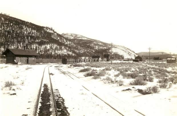Railroad Facilities at Dickey in 1929. Because of Dickey's importance, the railroad constructed extensive facilities west of the Blue River. The well to supply the water tank, stone pump house, tool house, and coal chutes line the track. Cabins and a bunkhouse provided sleeping quarters for workers.