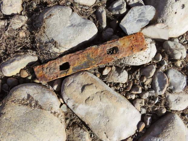 Broken Rail Joiner. These joiners were placed on both sides of the rail where the ends meet and were held together by bolts with nuts and lock washers.