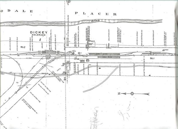 Colorado & Southern Interstate Commerce Commission Map, June, 1918. The ICC map shows the engine house, depot, section house, water tank, pump house and well, bunk house, coal bins and other outbuildings. The map even includes the chicken house, located behind the section house.
