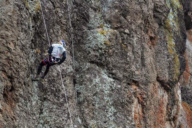 Mari Chandler of Michigan rapels down the final cliff face during the five-summit mountain stage at last week's Raide Del Viento 200-plus-mile, multi-day Adventure Racing event in Argentina's Patagonia.