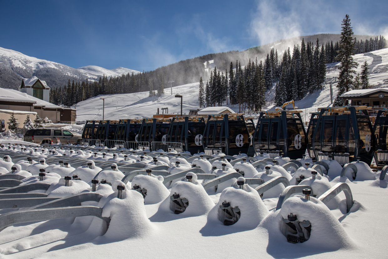 The new gondola cabins for Copper Mountain Resort's new American Eagle chairlift reside at the resort earlier this month.