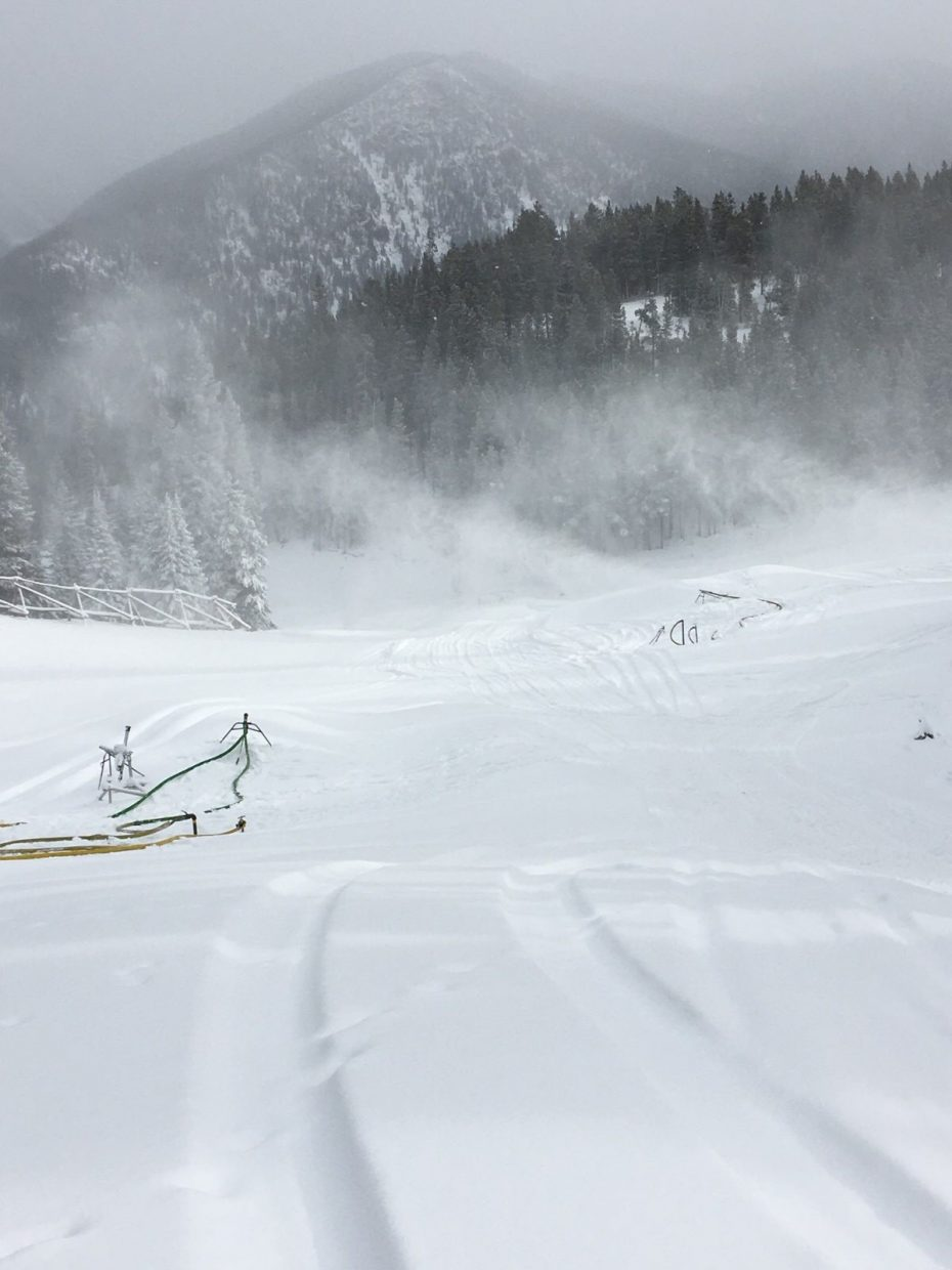 Natural snowfall and man-made snow are seen on the Last Chance run at Keystone Resort on Sunday.