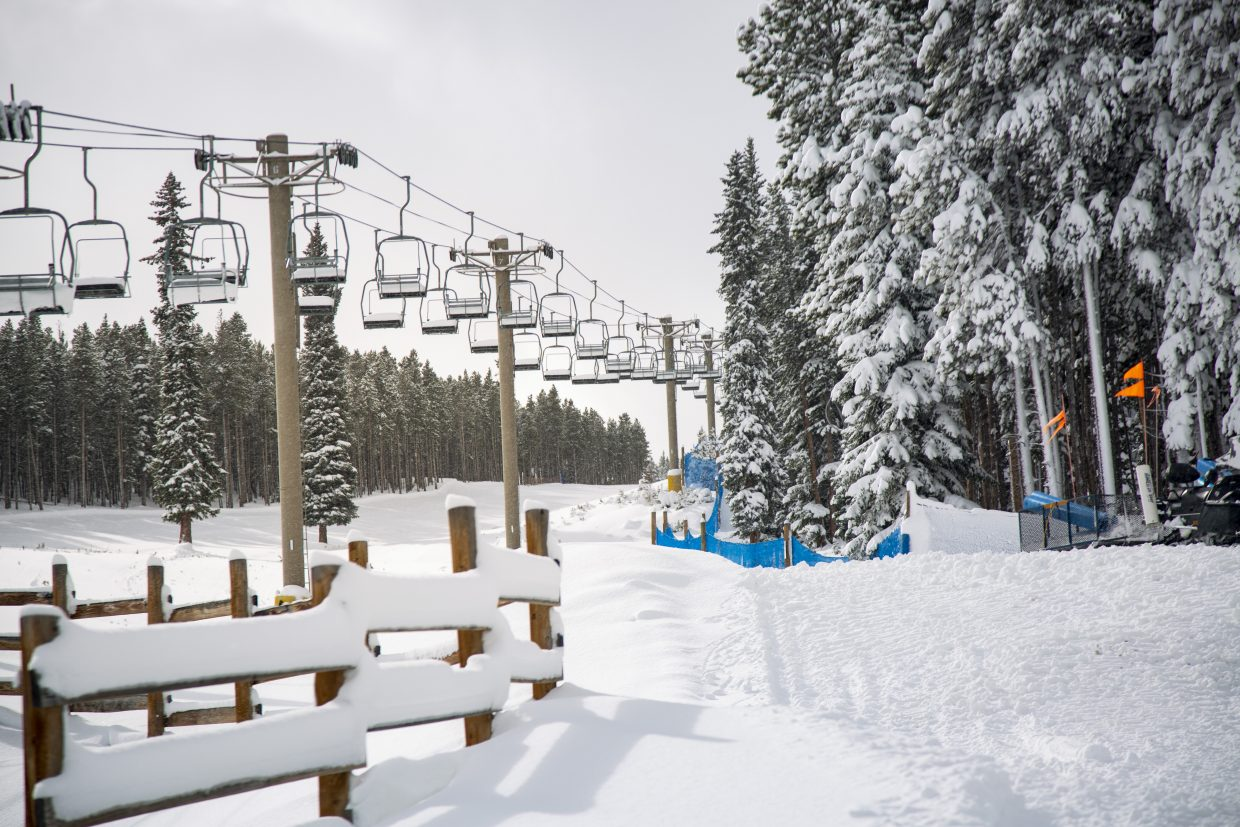 A snow-covered Breckenridge Ski Resort is seen on Monday morning after several snowstorms dumped powder throughout the resort in recent days.