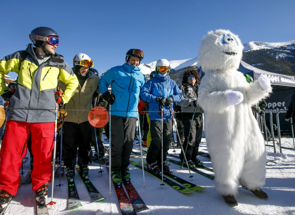 Betty the Yeti rallies the first chairlift riders of the 2018-2019 ski season Friday, Nov. 16, in Copper Mountain's East Village.